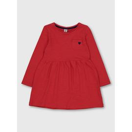 Red Jersey Heart Pocket Dress