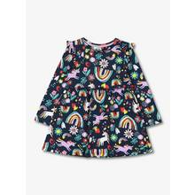 Navy Rainbow & Unicorn Print Dress