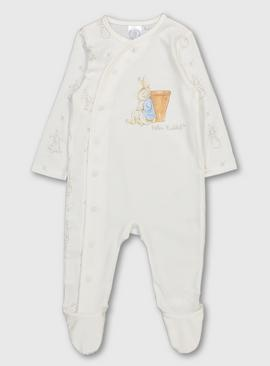Peter Rabbit White Printed Sleepsuit