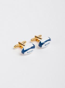Rugby World Cup White & Gold-Toned Cufflinks - One Size