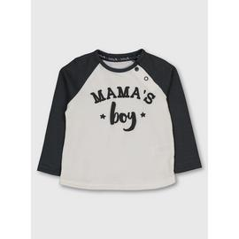 White & Grey 'Mama's Boy' Raglan Sleeve Top