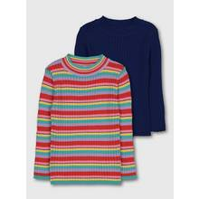Striped & Navy Ribbed Jumper 2 Pack