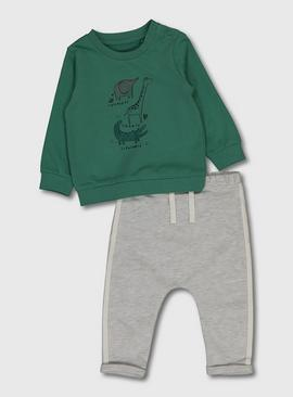 Green Animal Stack Top & Joggers
