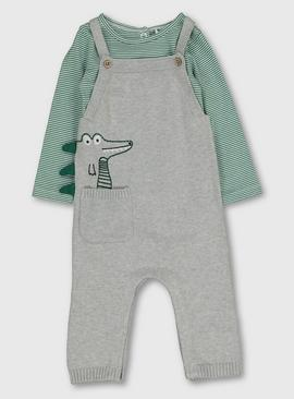 Green & Grey Dungaree & Body Set