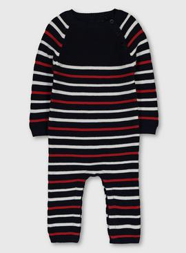 Navy Stripe Knitted Romper