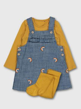 Ochre Bodysuit & Denim Rainbow Pinafore With Tights
