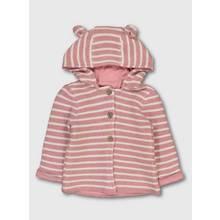 Pink & White Stripe Hooded Cardigan