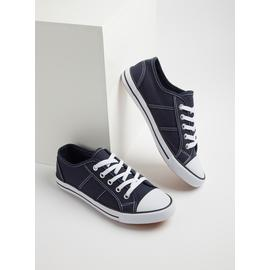 Navy Blue Eyelet Canvas Shoes