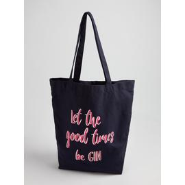 Online Exclusive Navy Gin Slogan Canvas Bag - One Size