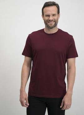 Claret Red Relaxed Fit Plain T-Shirt