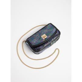Black Sequin Cross Body Bag - One Size