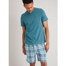 Teal Marl & Check Short Pyjamas