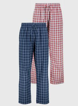 Navy & Red Check Pyjama Bottoms 2 Pack