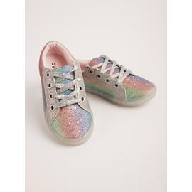 Rainbow Glitter Lace-Up Trainers