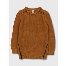 Ochre Yellow Twist Knitted Jumper With Zip Details