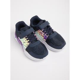 Navy & Purple Sparkle Star Chunky Trainers