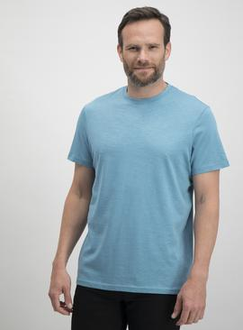 Light Blue Slub Relaxed Fit Crew Neck T-Shirt