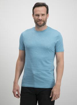 Light Blue Slub Slim Fit Crew Neck T-Shirt