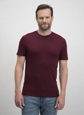 Claret Red Slim Fit Plain T-Shirt