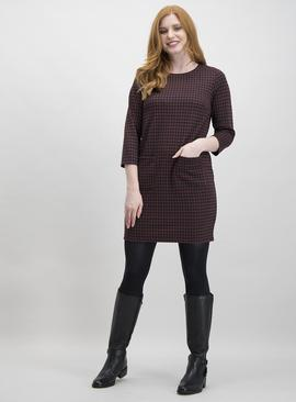 Dark Pink & Brown Brushed Check Shift Dress