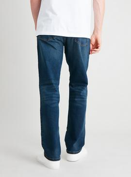 Blue Mid Wash Belted Straight Leg Jeans With Stretch