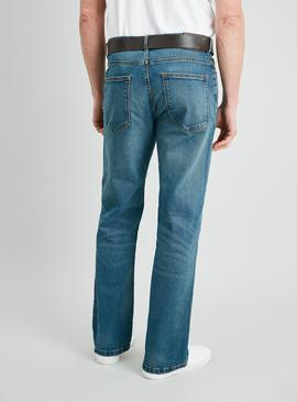 Light Wash Denim Belted Bootcut Jeans With Stretch