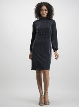 Black Sparkle Jersey Midi Dress
