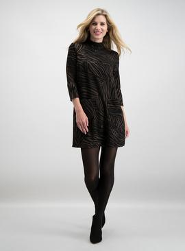 Brown & Black Animal Jacquard Shift Dress