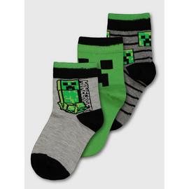 Minecraft Green & Grey Sock 3 Pack