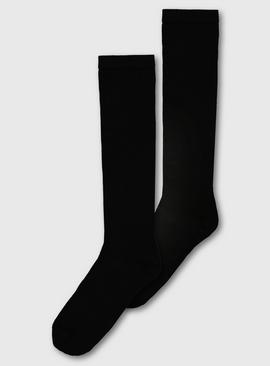 Black Supersoft Knee High Socks 2 Pack - 4-8