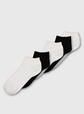 White & Black Trainer Socks 5 Pack - 4-8