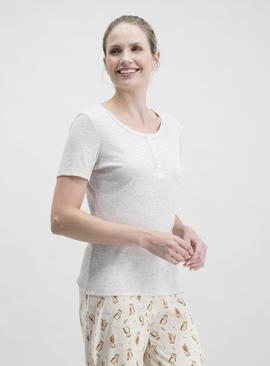 Oatmeal Pointelle Pyjama Top