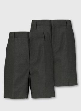 Grey Plus Fit Classic School Shorts 2 Pack