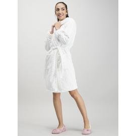 Cream Leaf Embossed Dressing Gown