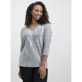 Grey Melange Foil Print Knit Look Jumper