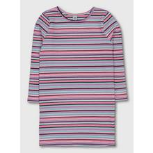 Pink Stripe Ribbed Dress