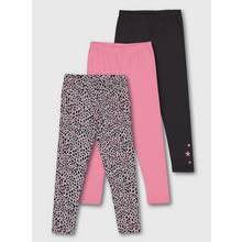 Leopard Print, Pink & Grey Leggings 3 Pack
