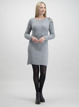 Grey Button Detail Longline Knitted Tunic