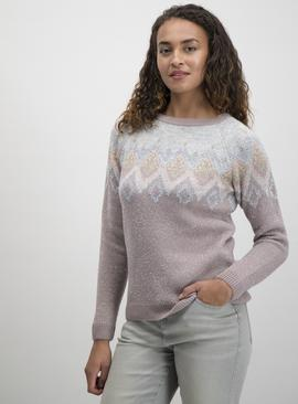 Mauve Metallic Fair Isle Jumper