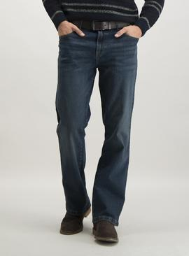 Mid Wash Blue Denim Belted Bootcut Jeans With Stretch