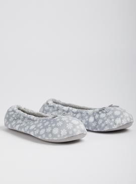Grey Floral Ballerina Slippers