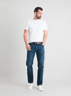 Mid Blue Denim Tapered Fit Belted Jeans With Stretch