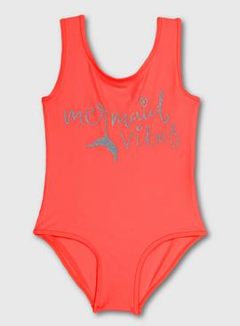 Neon Coral 'Mermaid Vibes' Swimsuit