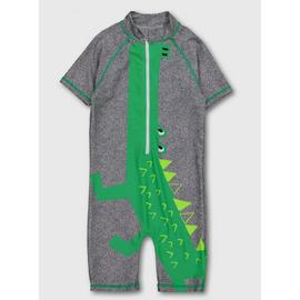 Grey & Green Crocodile All In One Swimsuit