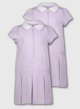 Blue Gingham Sporty Dresses 2 Pack