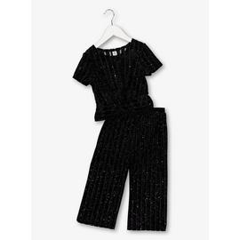 Multicoloured Glitter Top & Trouser Set