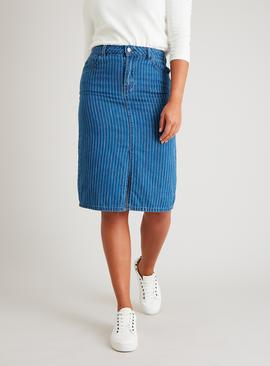 Blue Pastel Pinstripe Denim Pencil Skirt