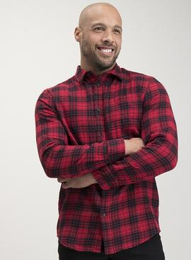 Red & Black Regular Fit Check Shirt