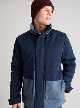 Navy & Airforce Blue Colour Block Wadded Deck Coat