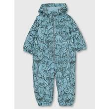 Light Blue Dinosaur Print Fleece Lined Puddlesuit